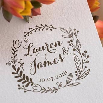 Personalised floral wreath wedding rubber stamp,Invitation Stamp,Rubber Wood Stamp, Custom wedding stamp, favor stamp фото