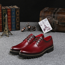 NEW men fashion business dress burgundy shoes Qshoes real cow leather lace-up men's casual shoe gold chains borders sole ke1018