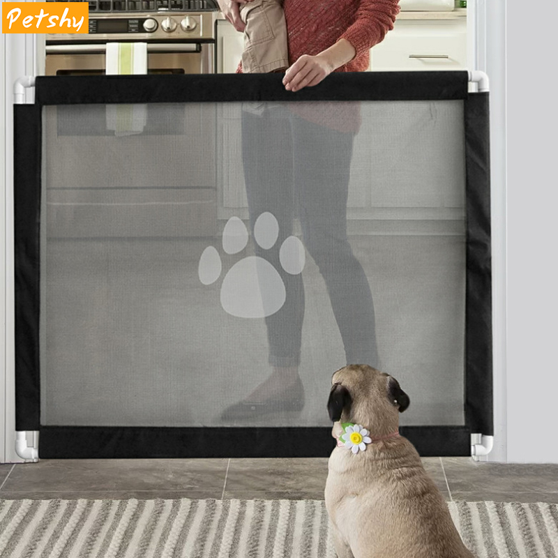 Pet Retractable Safety Guard Portable Folding Baby Safety Gate and Pet Gate Door Fence Breathable Enclosure for Stairs Doors and More