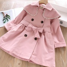 trench coats for girls jacket kids outerwear autumn Pearl korean sold ruffles fashion pink boutiques clothes children clothing Y цена в Москве и Питере