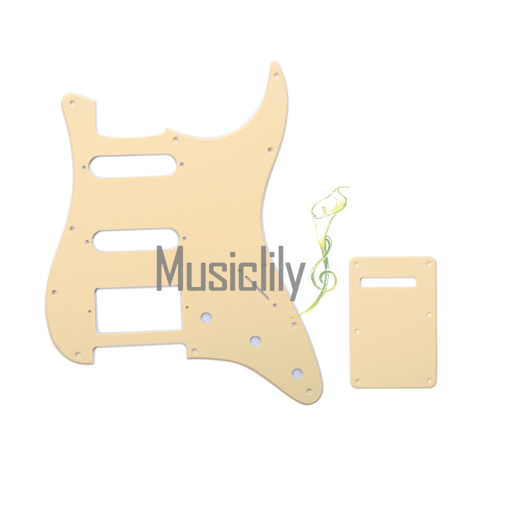 Musiclily 1Ply HSS Pickguard & Back Plate Set For USA/Mexico Standard FenderStrat ST Modern Guitar sg standard full face guitar pickguard scratch plate zebra stripe with screws