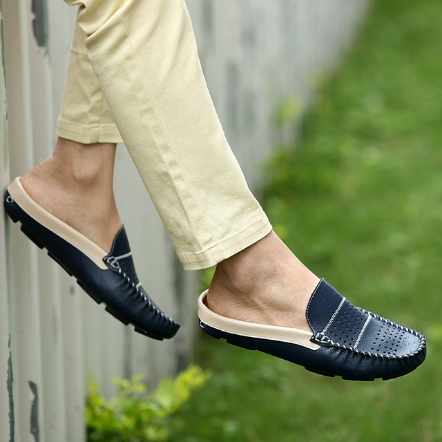 3a3cfee78a38 Summer fashion genuine leather men flats half slippers men s sandals  confortable casual shoes men loafers handmade moccasins