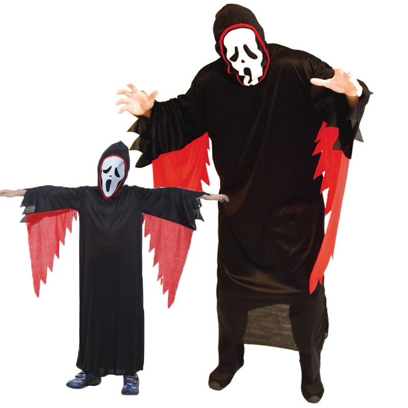 Umorden Carnival Halloween Costumes Family Matching Scary Black Darkness Devil Howling Ghost Costume Cosplay for Adult Kids in Scary Costumes from Novelty Special Use