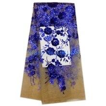 2017 heißer Verkauf Französisch Royal Blue Pailletten spitze stoff Neue Ankunft Qualitäts Afrikanisches Pailletten Spitze/guipure-spitze stoffe