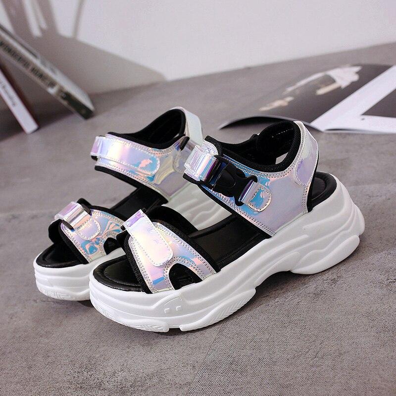 HTB1ThZwMZfpK1RjSZFOq6y6nFXau Sexy Open-toed Women Sport Sandals Wedge Hollow Out Women Sandals Outdoor Cool Platform Shoes Women Beach Summer Shoes 2019 New