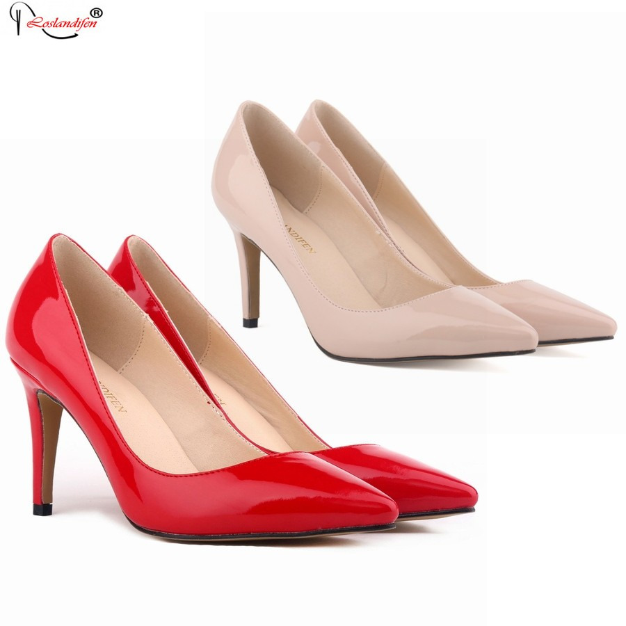 Big Plus Size Women Pumps Sexy Black Pointed Toe High Heels Shoes Woman 2017 Brand New Design Wedding Party Shoes Smynlk-10019b sexy pointed toe high heels women pumps shoes new spring brand design ladies wedding shoes summer dress pumps size 35 42 302 1pa