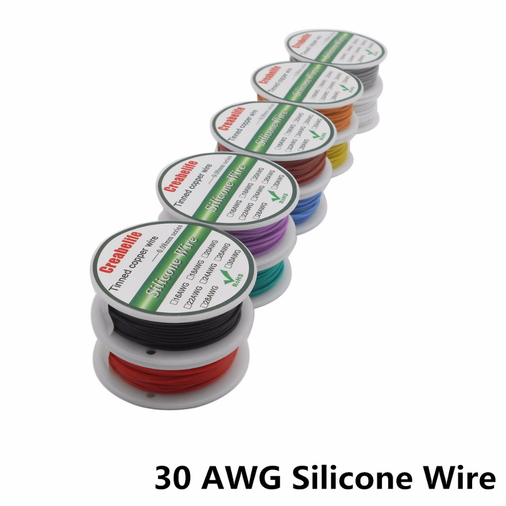 10m 30 AWG Flexible Silicone Wire RC Cable Line With 10 Colors to Select With Spool Tinned Copper Wire Electrical Wire