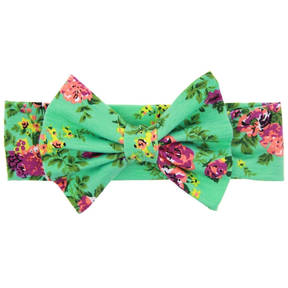TWDVS Kids Printing Flower Bow Knot Elasticity Pannband Nyfött - Kläder tillbehör - Foto 3