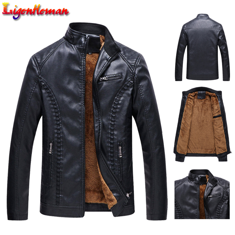 2019 New Winter Men Leather Jackets Men Motorcycle Keep Warm Leather Jackets Fashion Brand Men's Fleece Leather Jacket Coat