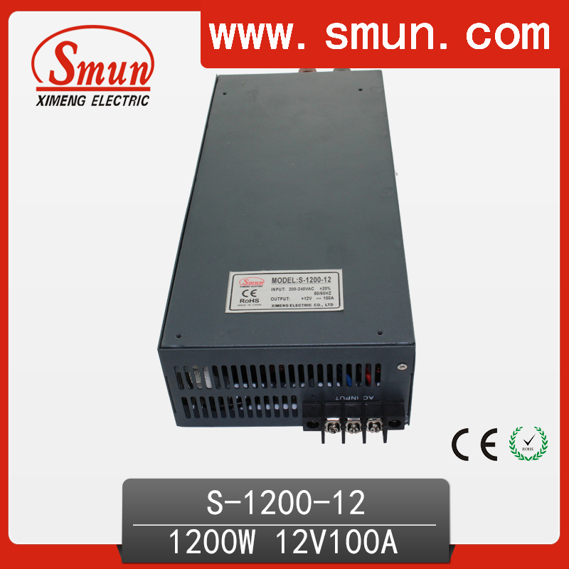 1200W 12V 100A Single Output Switching Power Supply with CE ROHS from China Supplier Industrial and Led Used ce rohs ms 50 24v ac dc mini size single output switching power supply from chines supplier