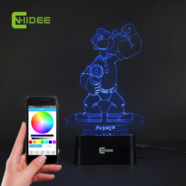 CNHIDEE Lampada Decorativa USB Desk 3D Night Lamp Bluetooth Music Led Table Lamp as Creative Gifts for Cartoon Popeye Fans