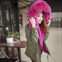 2016 New Hot Sale Big Faux Fur Clour Green Army Cotton Jacket Wool Natural Color Faux