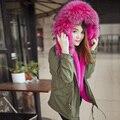 2016 nueva venta caliente grande de piel sintética clour verde del ejército chaqueta de algodón de Color Natural de lana de Abrigo De Piel Sintética outwear caliente