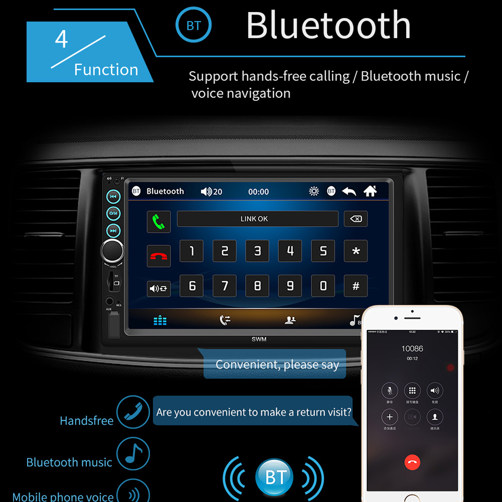 "Image 5 - 7"" 12V HD Screen Bluetooth Car MP5 Player Video Audio FM Radio Rearview Camera Phone Connect Car Displayer with Colorful Light-in Car MP4 & MP5 Players from Automobiles & Motorcycles"
