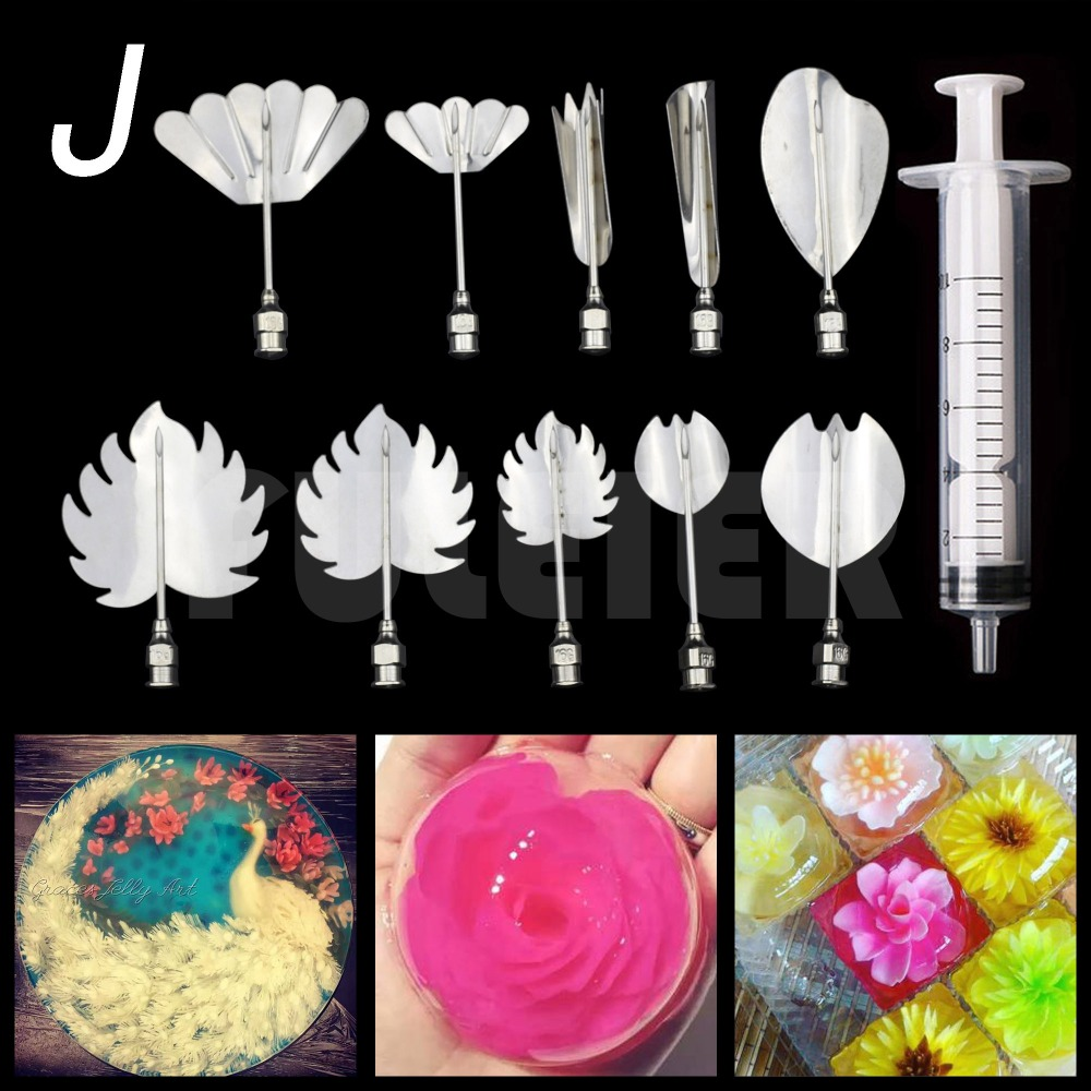 11pcs Metal 3D Gelatin Jelly cake Art Needles DIY Jelly Cake Decorating Tool nozzle set Kitchen gadget syringe Drop shipping