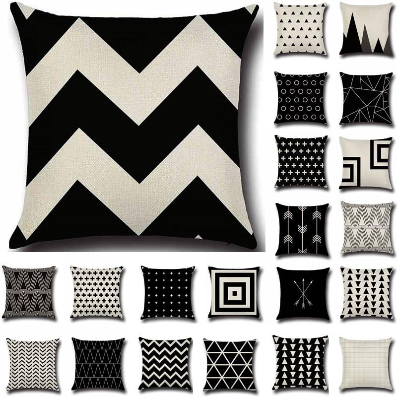 1Pcs 43*43cm Nordic Style Beige Geometric Cotton Linen Throw Pillow Cushion Cover Car Home Sofa Decorative Pillowcase 40198