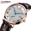 Карнавальные мужские часы, швейцарские роскошные брендовые автоматические механические часы, мужские часы из натуральной кожи, relogio uhr kol ...
