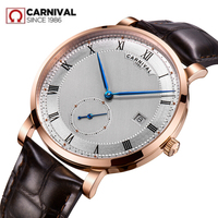 Karneval männer uhr schweiz luxus marke automatische mechanische uhren männer echtes leder uhren relogio uhr kol saati reloj