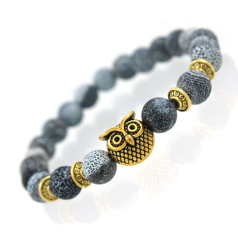 Natural Black And White Stone Bracelet With Gold Owl