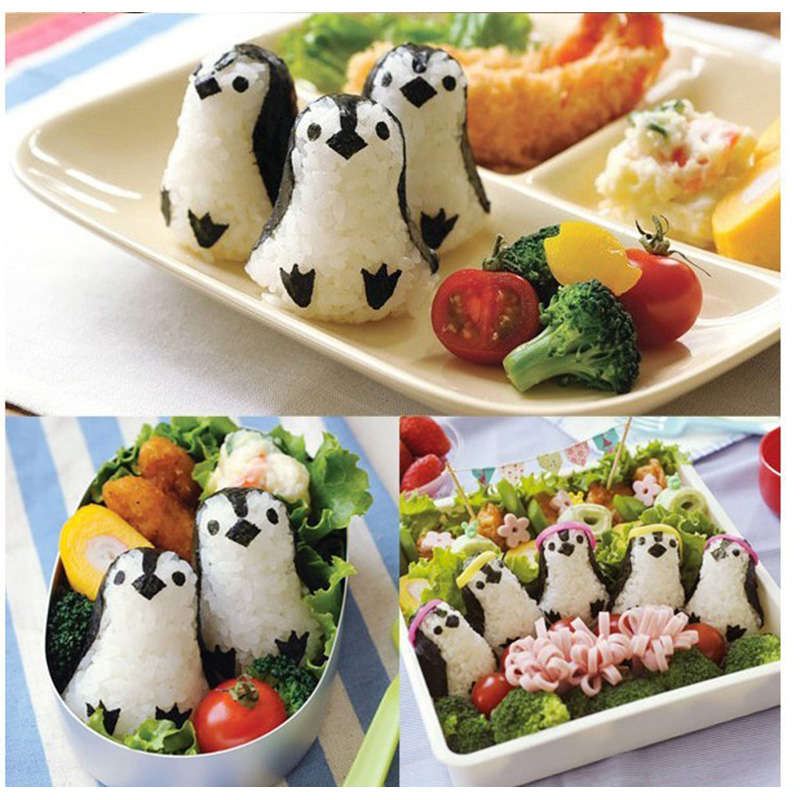 SOLEDI Cucina Cute Penguin Sushi Maker Mold Sandwich Stampo Palla di Riso Bento Strumento Dropshipping