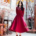 Winter Elegant Belt Female Wool Coat High-quality Thickening Vintage Embroidery Red Woolen Outerwear Coat Women Long Jacket Coat
