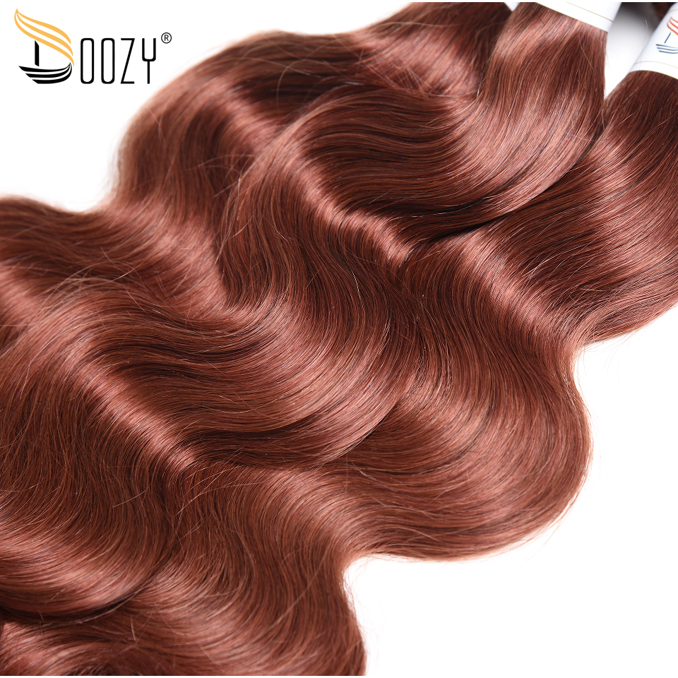 Doozy Color 33 Body Wave Brazilian Human Hair 3 Bundles Auburn Brown Remy Weave Free Shipping In Weaves From Extensions Wigs On