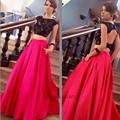 Encaje negro Rojo de Dos Piezas de Baile Vestidos Largos Vestido de Graduación Vestidos de Gala Formal Mujeres Desfile de Vestidos de Noche 2017