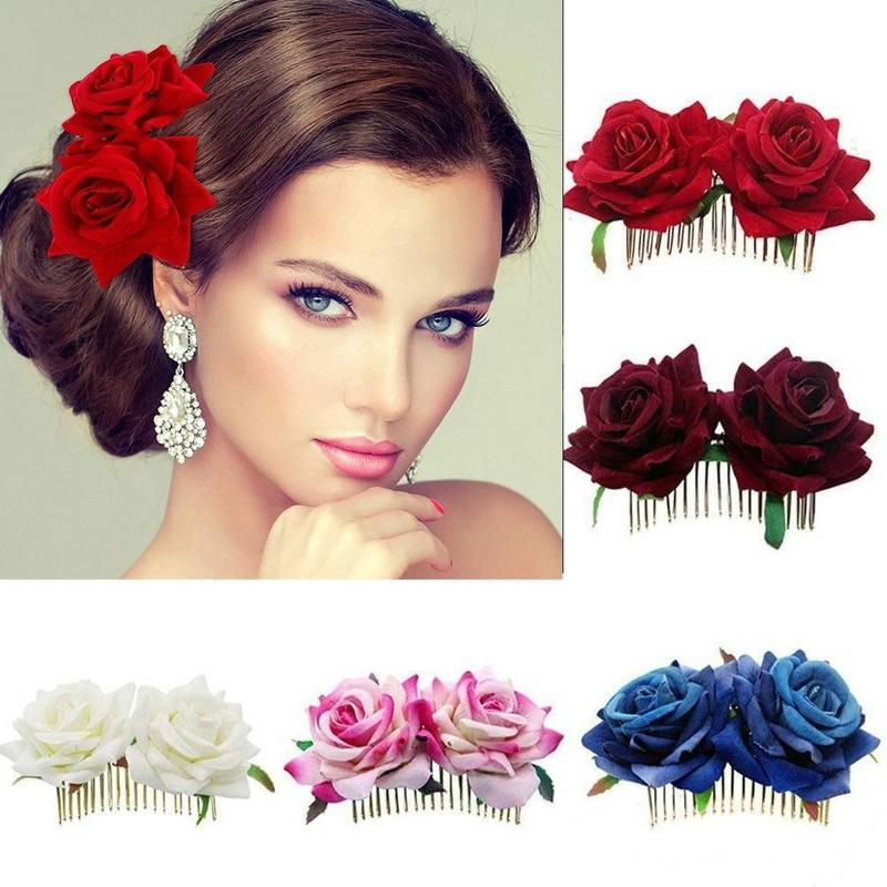 1PC Romantic Fancy Double Silk Artificial Rose Flower Hair Comb Purple White Hair Clip Wedding Bridal Women Prom Headpiece