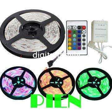 RGB LED Strip Light 3528 Flexible 300LED 5M SMD waterproof Ribbon Tape Outside Lamp DC 12V+IR Controller Free Shipping 1 set/lot led strip kit led strip light 3528 smd 20m 1200leds dc12v flexible led ribbon diode tape forrf touch remote 78w power supply
