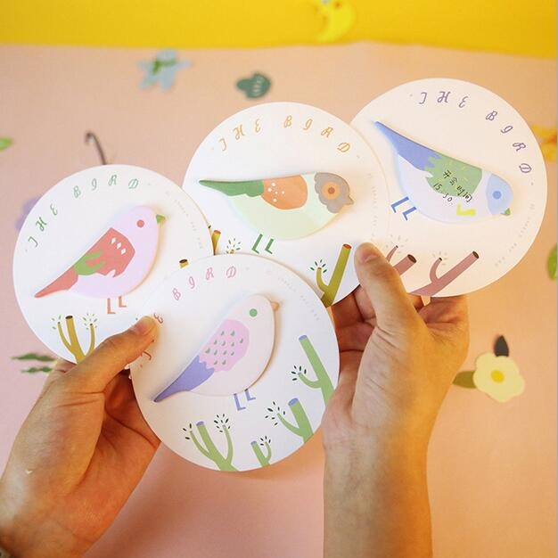 1packs/lot The Bird design Self-Adhesive Memo Pad Sticky Notes Post It Bookmark School Office Supply Gift Stationery