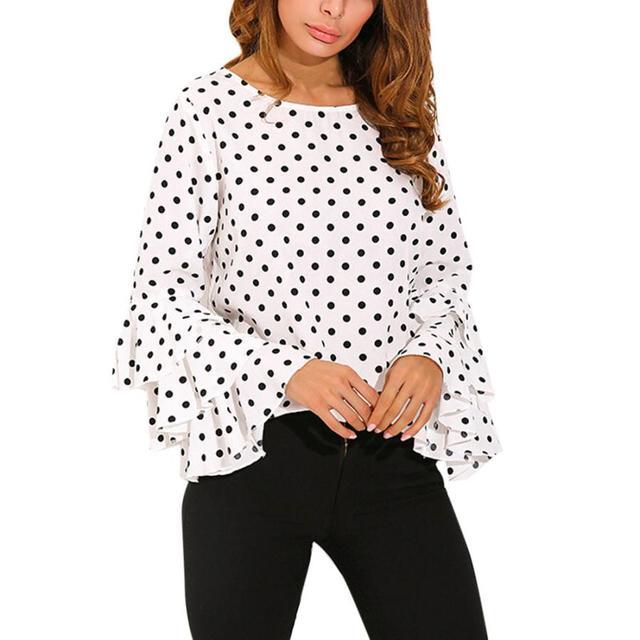 Fashion Women S Blouse Cotton Bell Sleeve Loose Polka Dot Shirt