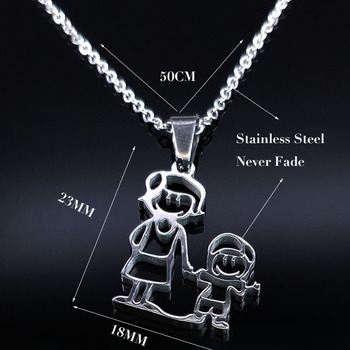 Unisex Family Necklace Jewelry Necklaces Women Jewelry Metal Color: 1mom 1 boy