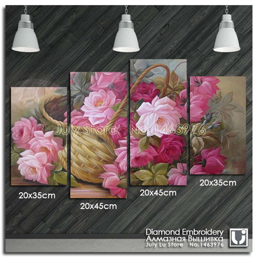 Four Parts A Beautiful Basket Of Flowers Diamond Painting Flowers
