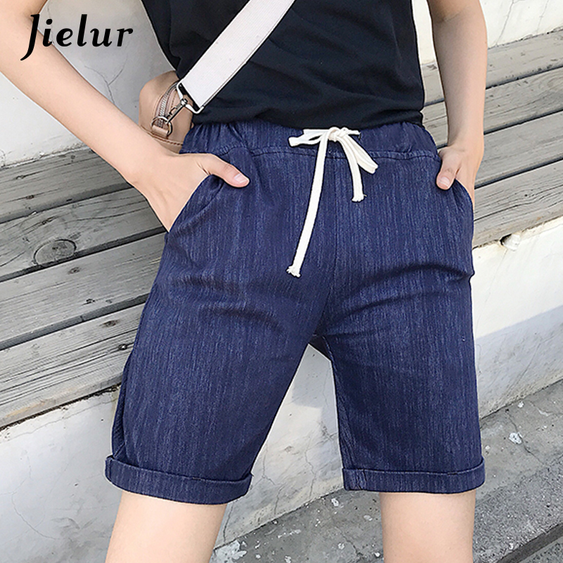 Jielur Summer Shorts Elastic-Waist Femme Casual Fashion Women Blue New Black S-5XL High