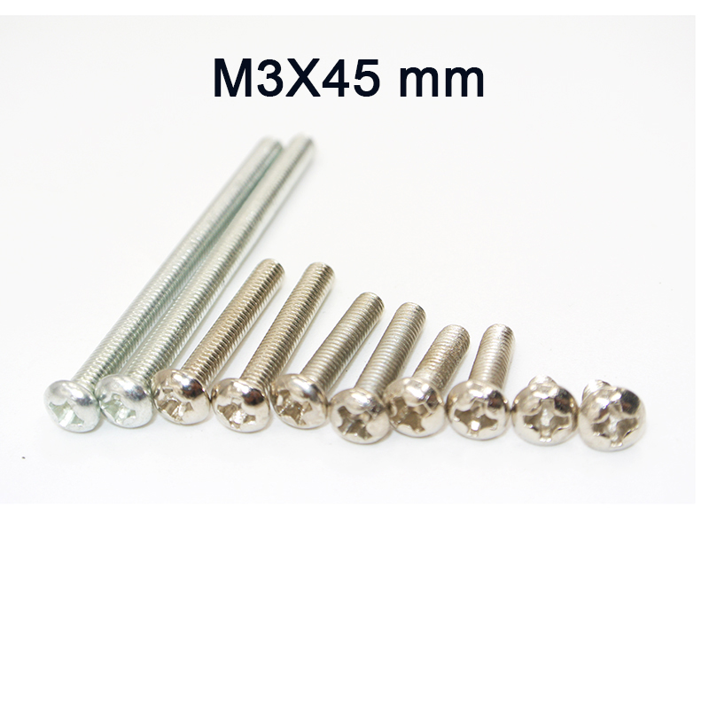 500Pcs <font><b>M3</b></font> Stainless Steel Phillips Screws Cross Round Head <font><b>M3</b></font> Screw Bolts Nuts Fasteners Hardware Tools <font><b>M3</b></font> x <font><b>45mm</b></font> image