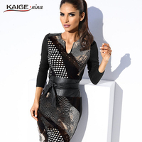 KaigeNina New Fashion Hot Sale Women Natural Simple Plaid Printing V Neck Above Knee Chiffon Dress