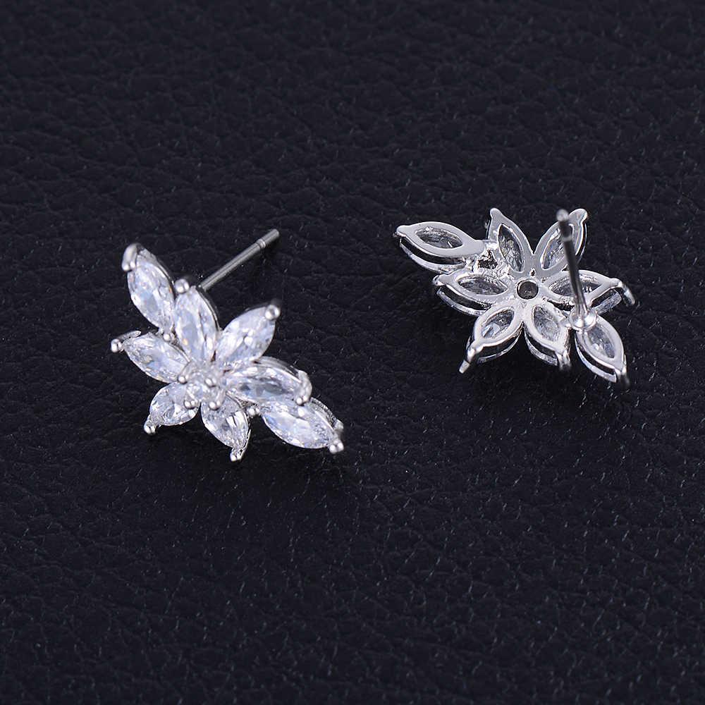 Bạc Màu Dễ Thương Flower Oval Shape Cubic Zirconia Stud Earrings Phụ Nữ Bridal Engagement Bông Tai Trang Sức