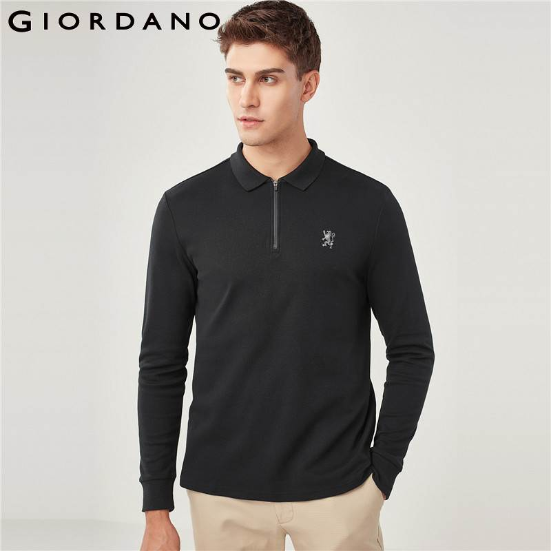 Giordano Men   Polo   Shirt Men Long Sleeves Embroidery Lion   Polo   Shirt Zip Front Half Opening Slim Fit Cutting   Polo   Shirt Cotton