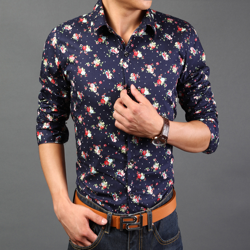 Popular Flower Print Shirt Men-Buy Cheap Flower Print Shirt Men ...