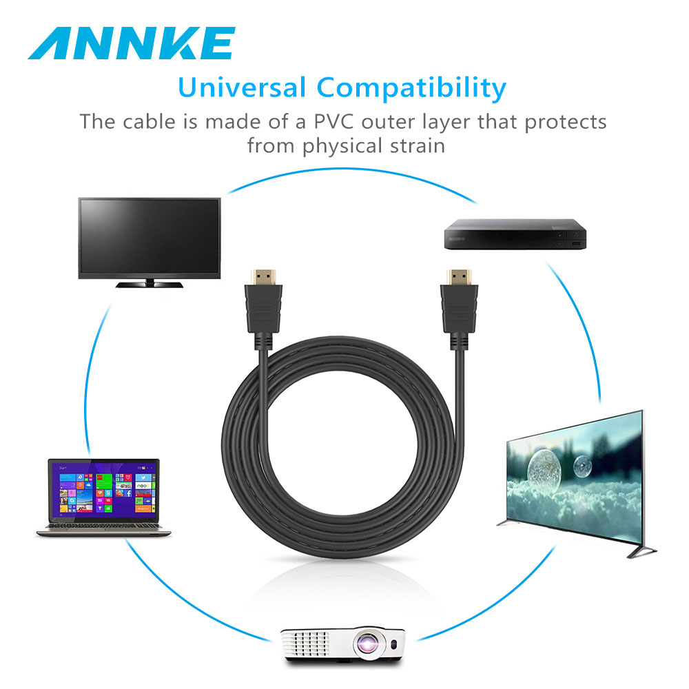 ANNKE NEW 1pcs 1.8m HDMI Cable For 480p 480i 720p 1080p 1080i Resolution On TV Display Computer Flexible Transmission Cable