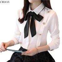 LXUNYI Korean Women Elegant Shirts Long Sleeve Lace UP Bow Slim Peter Pan Collar Formal Office