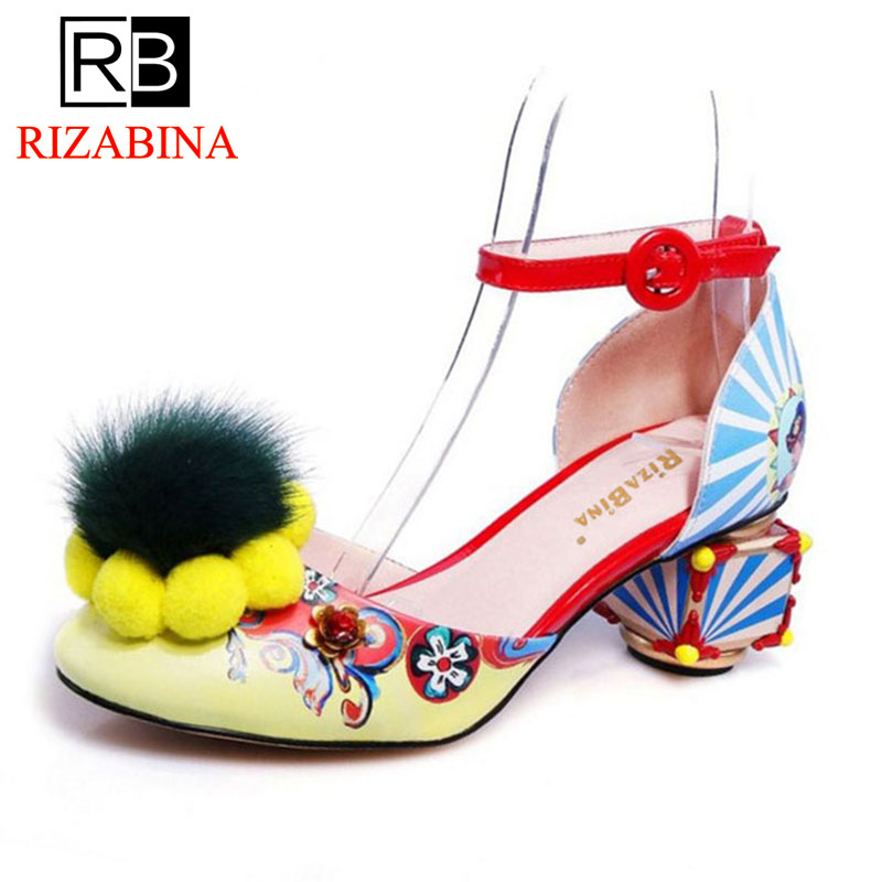 RizaBina Size 34-43 Women Real Leather High Heel Sandals Bownot Flower Thick Heel Sandal Women Party Club Summer Women Footwears