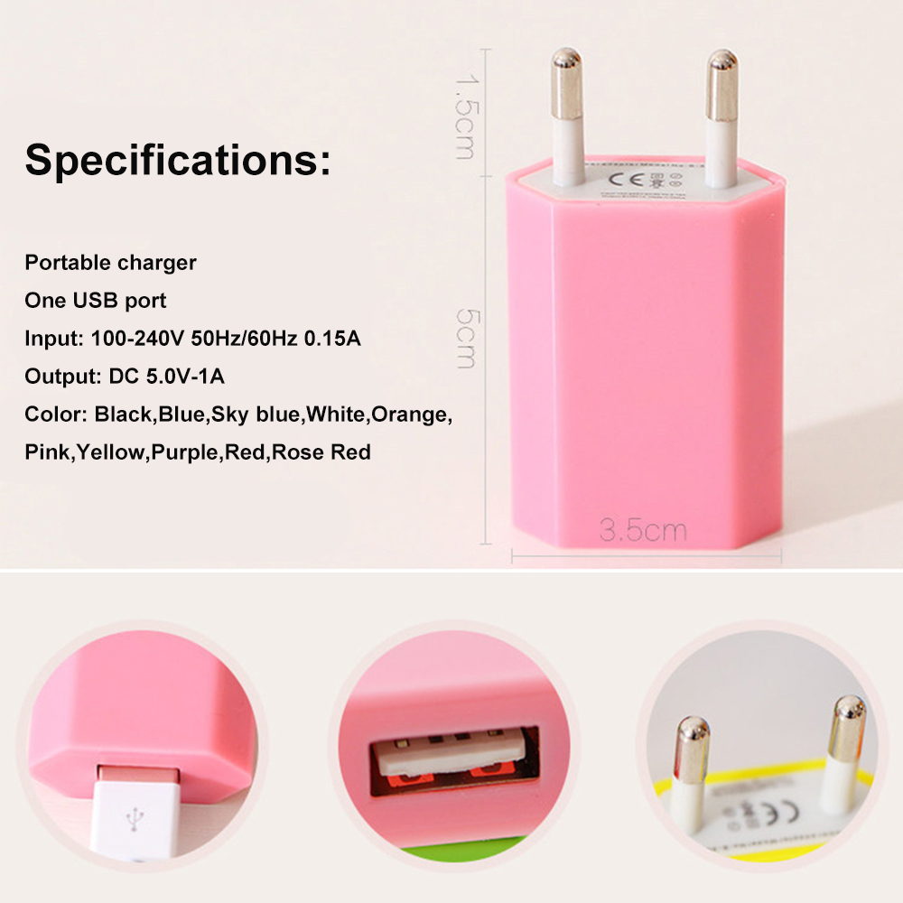European USB Power Adapter EU Plug Wall Charging Travel Charger for iphone Huawei Samsung LG Tablet IPad Huawei in Mobile Phone Chargers from Cellphones Telecommunications