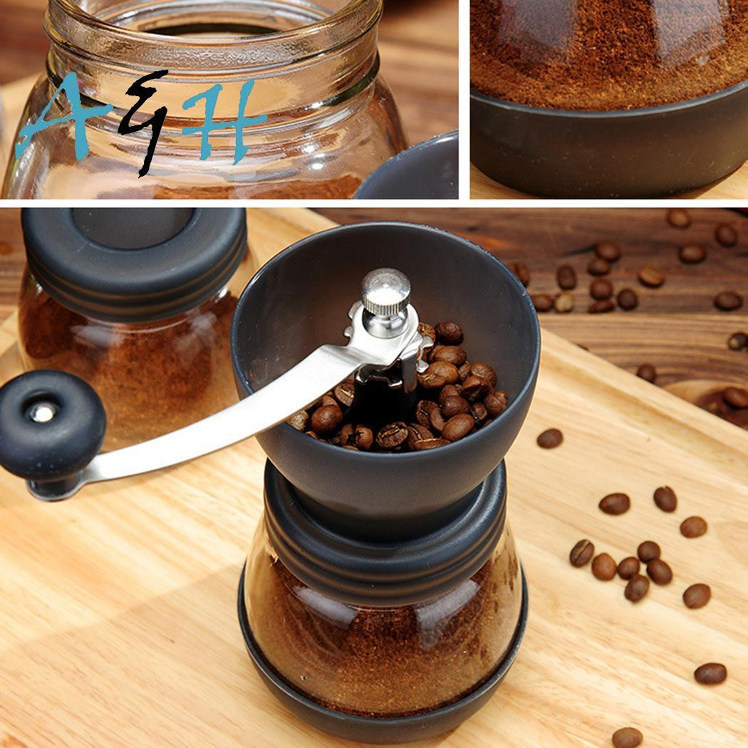 Portable Hand-Crank Coffee Bean Grinder Manual Mill 13cm/5.1inch Black Kitchen Tool