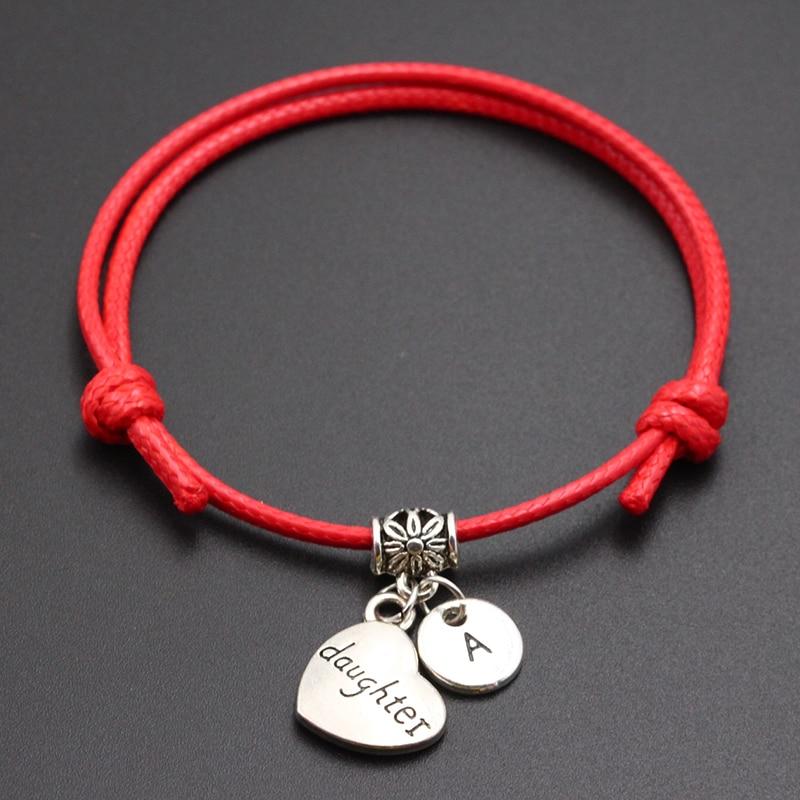 New A-Z Letters Daughter Heart Pendant Red Thread String Bracelet Handmade Diy Lucky Rope Bracelet For Women Men Jewelry Gift