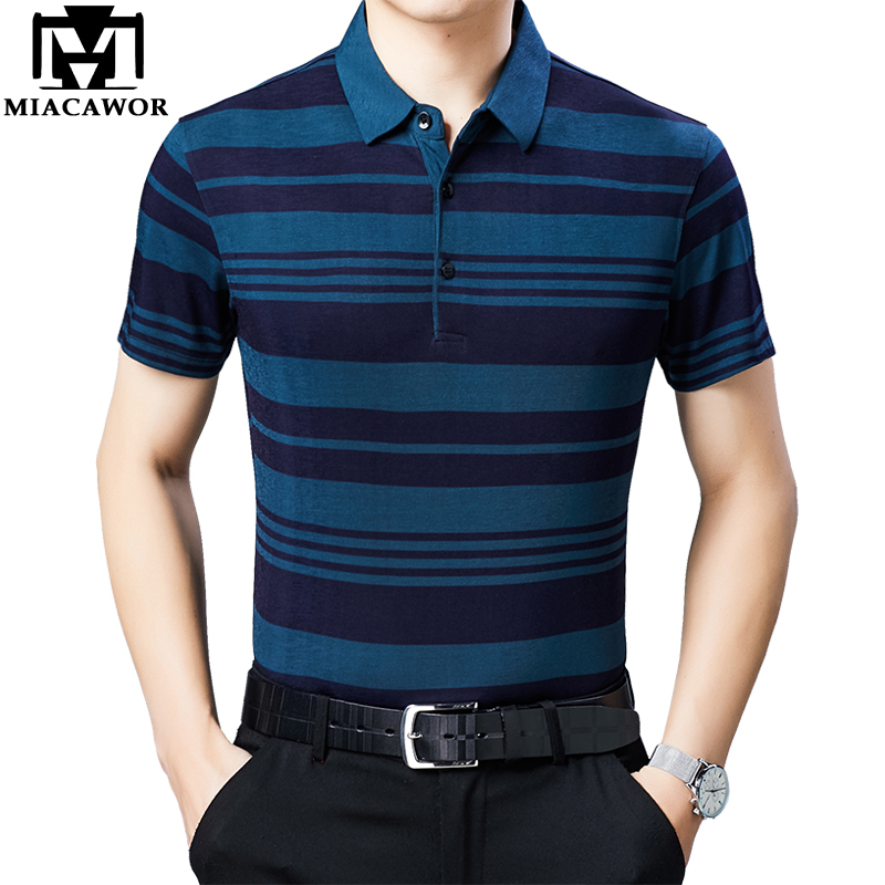 MIACAWOR New Original   Polo   shirts Men Fashion Striped Homme Slim Fit Camisa Summer Short-sleeve   Polos   para hombre T752