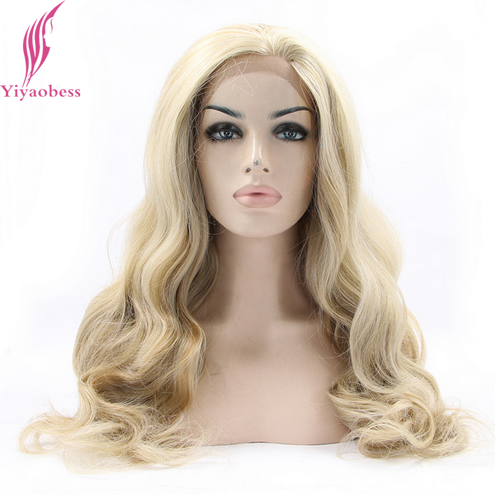 Yiyaobess Glueless Highlights Blonde Lace Front Wig Synthetic African American Long Wavy Wigs For White Women