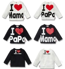Retail I Love Papa Mama Baby Kids 100 Cotton Shirts T shirt Boys Girls Long Sleeve
