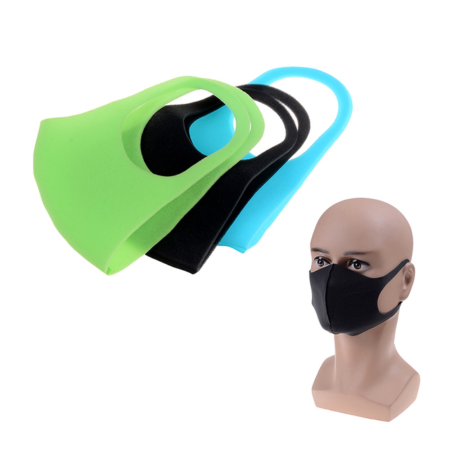 1/3 Pcs Black Kpop Mouth Mask Breathable Unisex Sponge Face Mask Reusable Anti Pollution Face Shield Wind Proof Mouth Cover 1