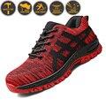 Zapatos de seguridad de punta de acero de alta calidad para hombre Zapatos de seguridad de trabajo Unisex transpirables de malla de aire zapatos de trabajo más tamaño 37- 46 de goma